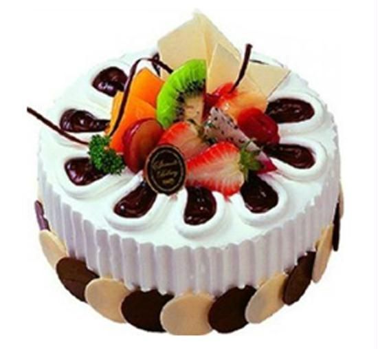 5kg Cake Images : Designed Fruit chocolate cake   1.5kg Online cake ...