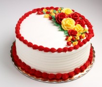 red and yellow coloured cake