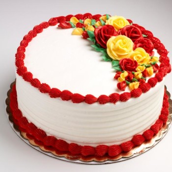 Red Colour Cake Images : Red and Yellow Coloured Cake Online cake delivery in ...